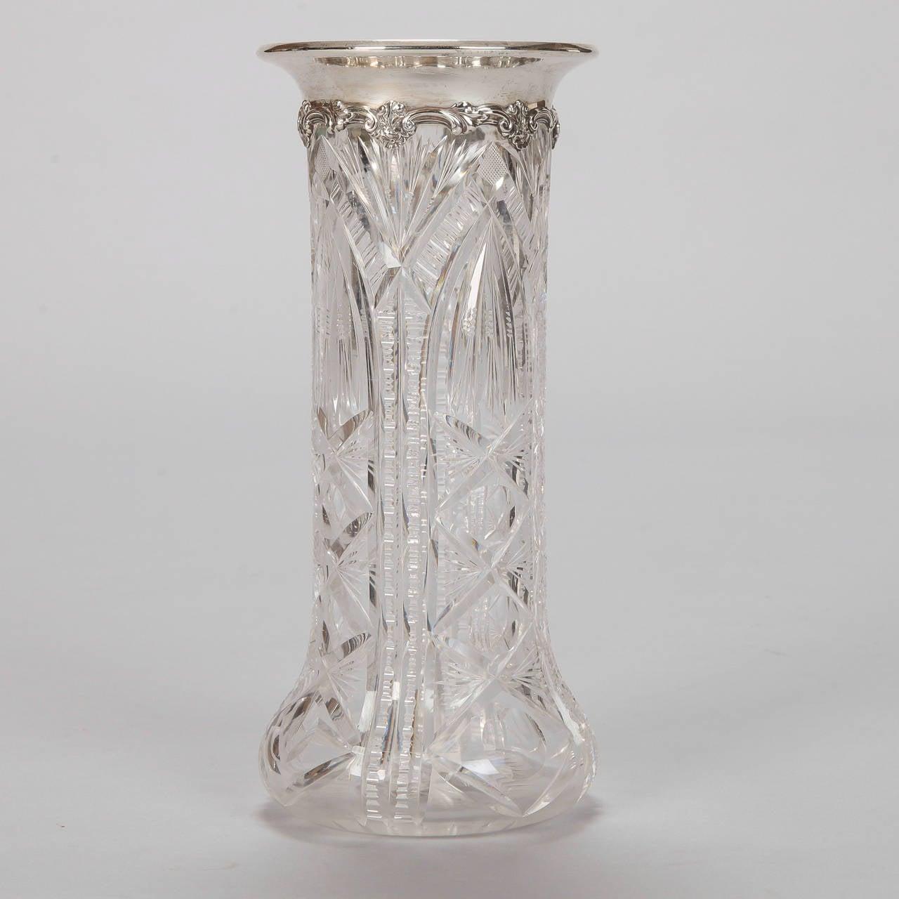 heavy carved crystal vase with sterling silver rim for. Black Bedroom Furniture Sets. Home Design Ideas