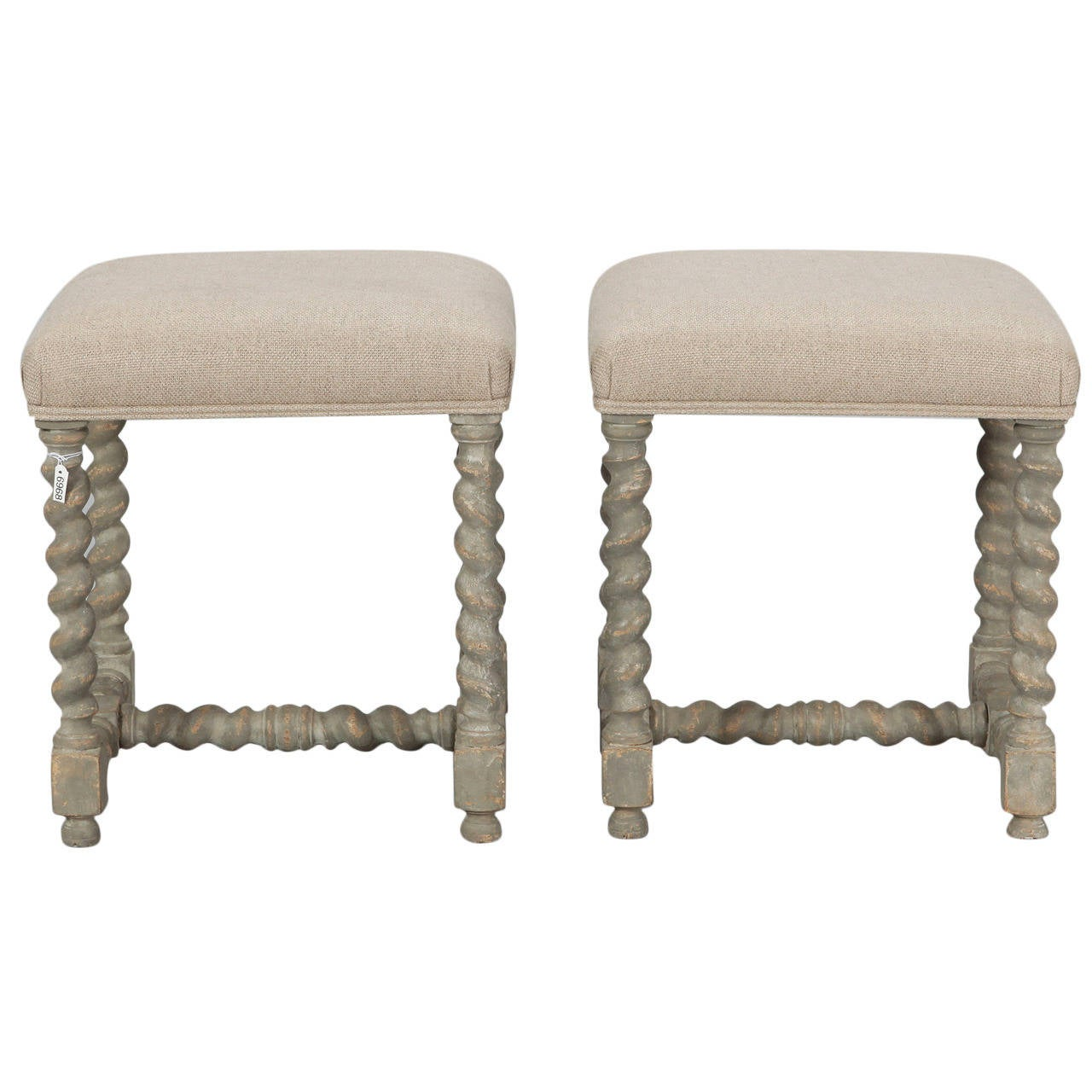 Pair Of Painted Barley Twist Upholstered Stools At 1stdibs