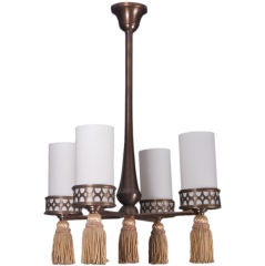French Bronze Four Light Fixture with Tassels