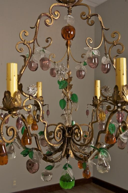 Six Light Chandelier With Colored Glass Fruit At 1stdibs