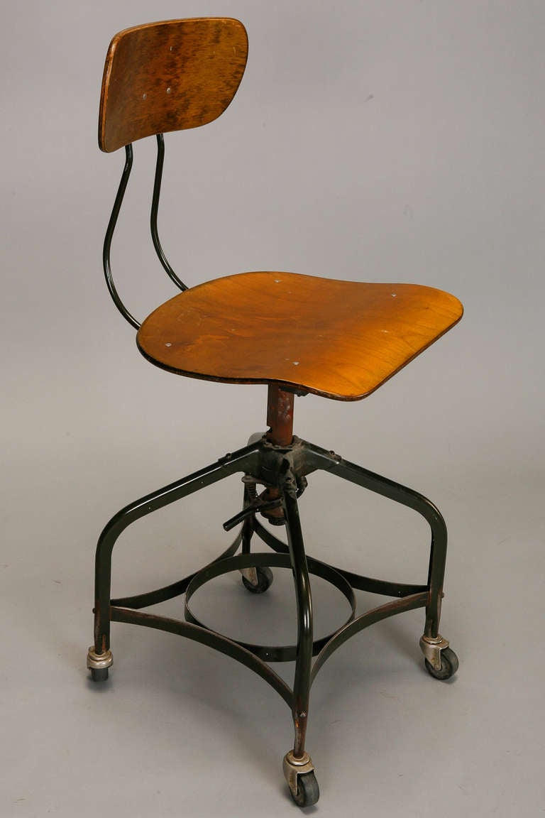 Toledo Style Adjustable Height Swiveling Industrial Chair