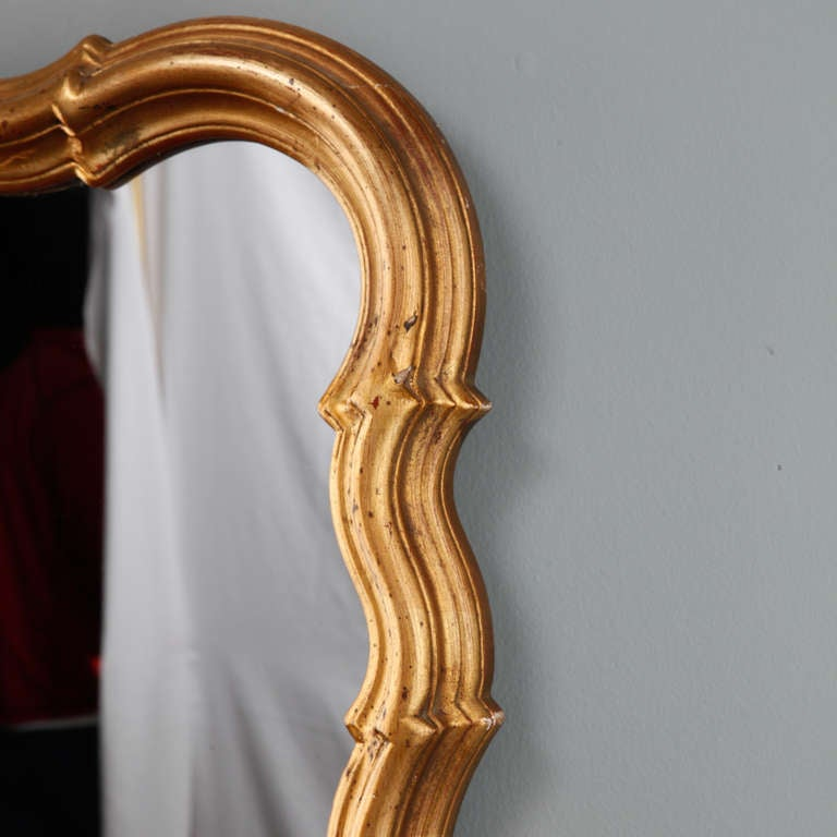 French Scalloped Edge Gilt Wood Mirror At 1stdibs