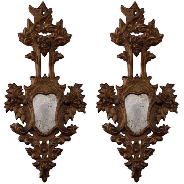 Pair 19th Century Large Italian Gilt Wood Mirror Sconces