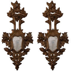 Pair 19th Century Large Italian Gilt Wood Mirror Sconces
