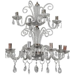 Large Double-Tier Murano Clear Glass Chandelier