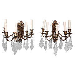 Pair of French Five-Arm Bronze and Crystal Sconces