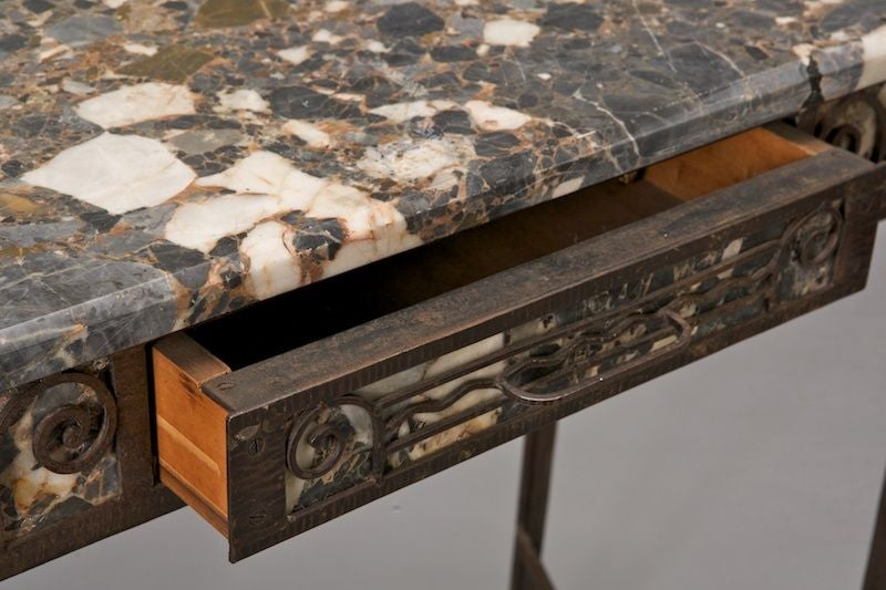 Fer forge and marble art deco vanity at 1stdibs for Deco fer forge mural