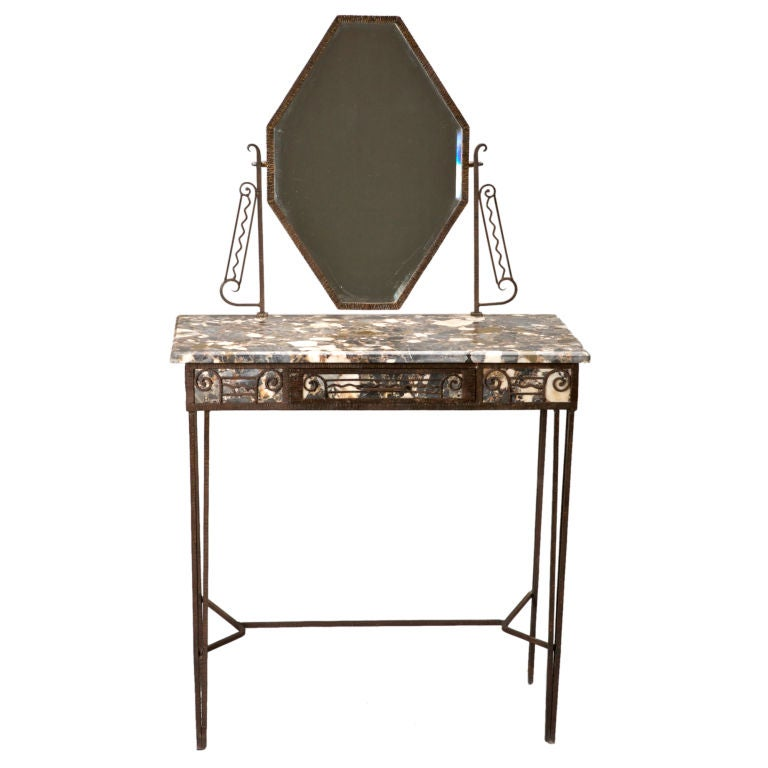 fer forge and marble art deco vanity at 1stdibs