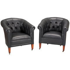 Pair Black Leather Button-Tufted Art Deco Chairs