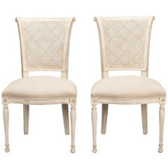 Set of 12 French Cane Back Antique White Dining Chairs