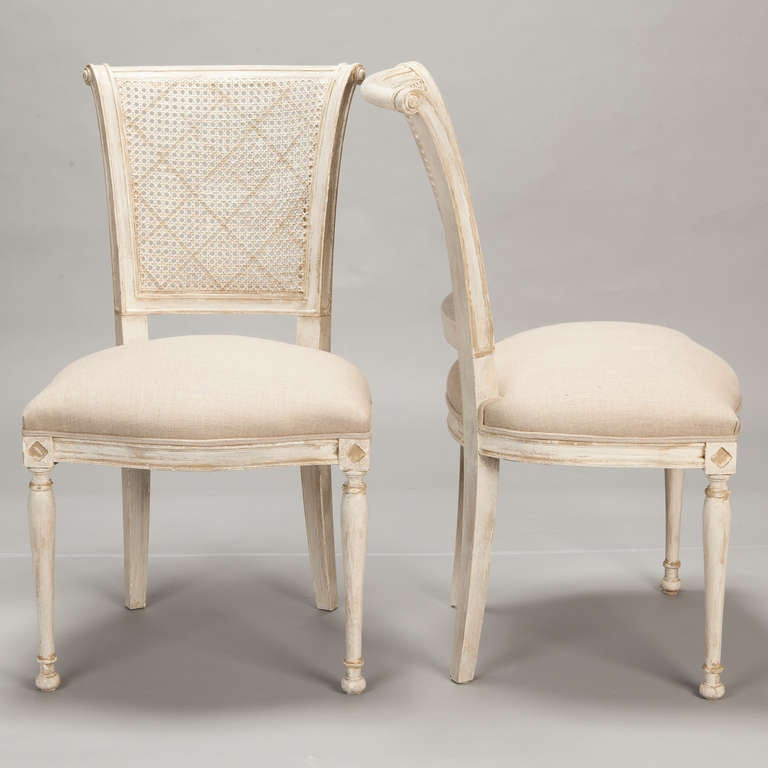 Set Of 12 French Cane Back Antique White Dining Chairs 2