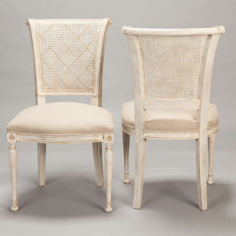 Set of 12 French Cane Back Antique White Dining Chairs In Excellent  Condition For Sale In - Set Of 12 French Cane Back Antique White Dining Chairs At 1stdibs