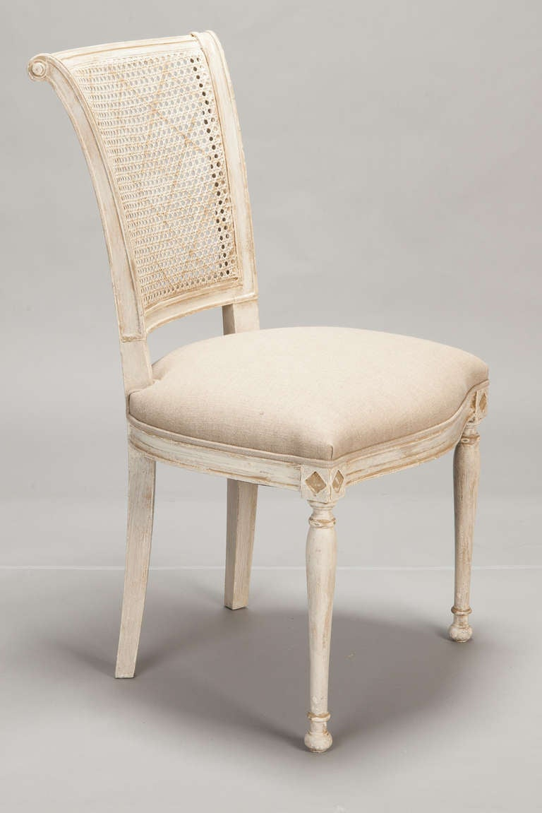 Set Of 12 French Cane Back Antique White Dining Chairs At