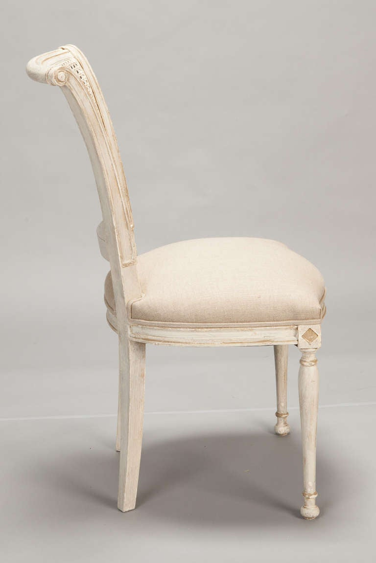 Set Of 12 French Cane Back Antique White Dining Chairs At 1stdibs
