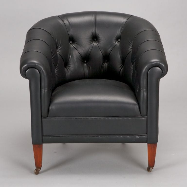 Pair Black Leather Button Tufted Art Deco Chairs At 1stdibs