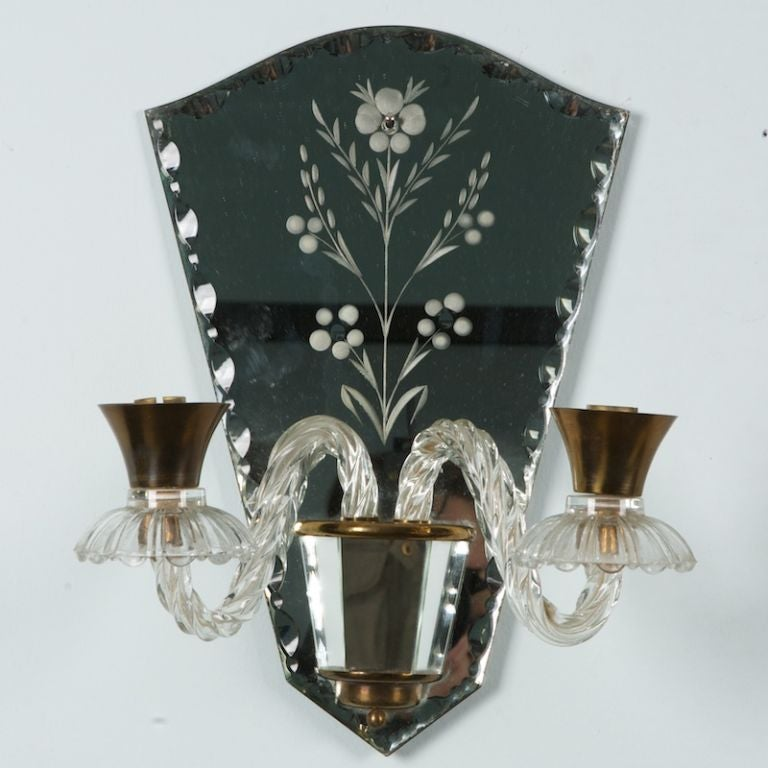 Venetian Wall Sconces : Pair Venetian Mirrored Sconces at 1stdibs