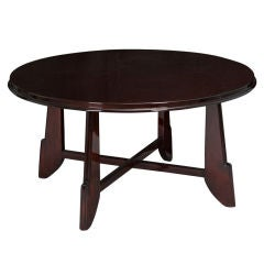 French Round Art Deco Rosewood Coffee Table