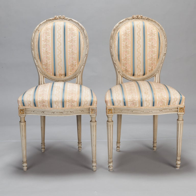 Set of Eight Upholstered French Dining Chairs
