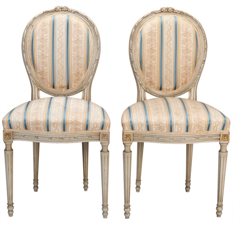 Set of eight upholstered french dining chairs at 1stdibs