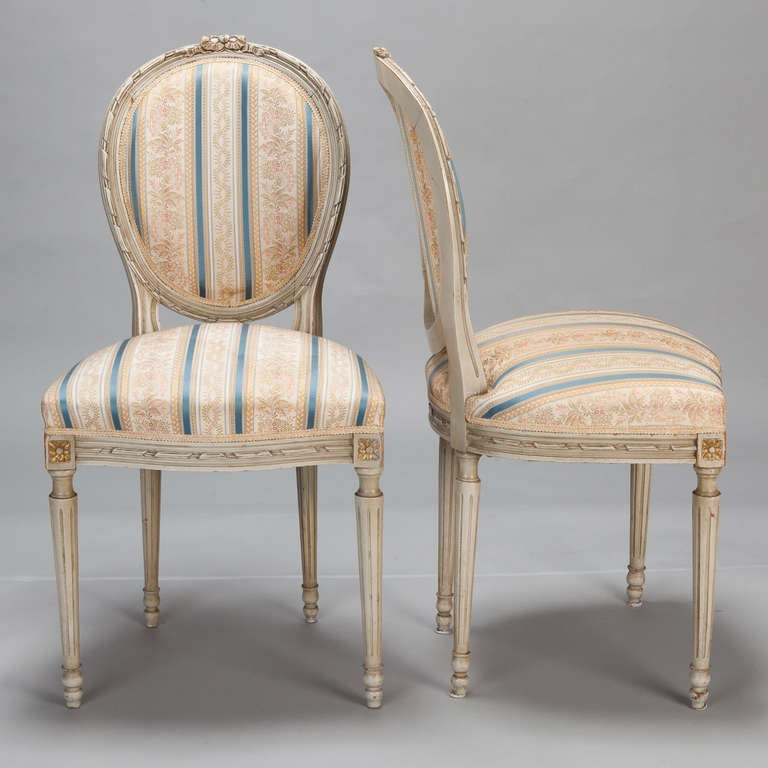 Carved Set of Eight Upholstered French Dining Chairs