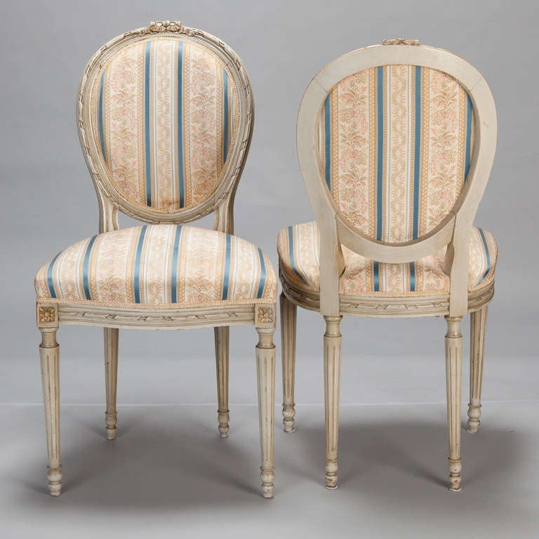 Set of Eight Upholstered French Dining Chairs In Excellent Condition In Troy, MI