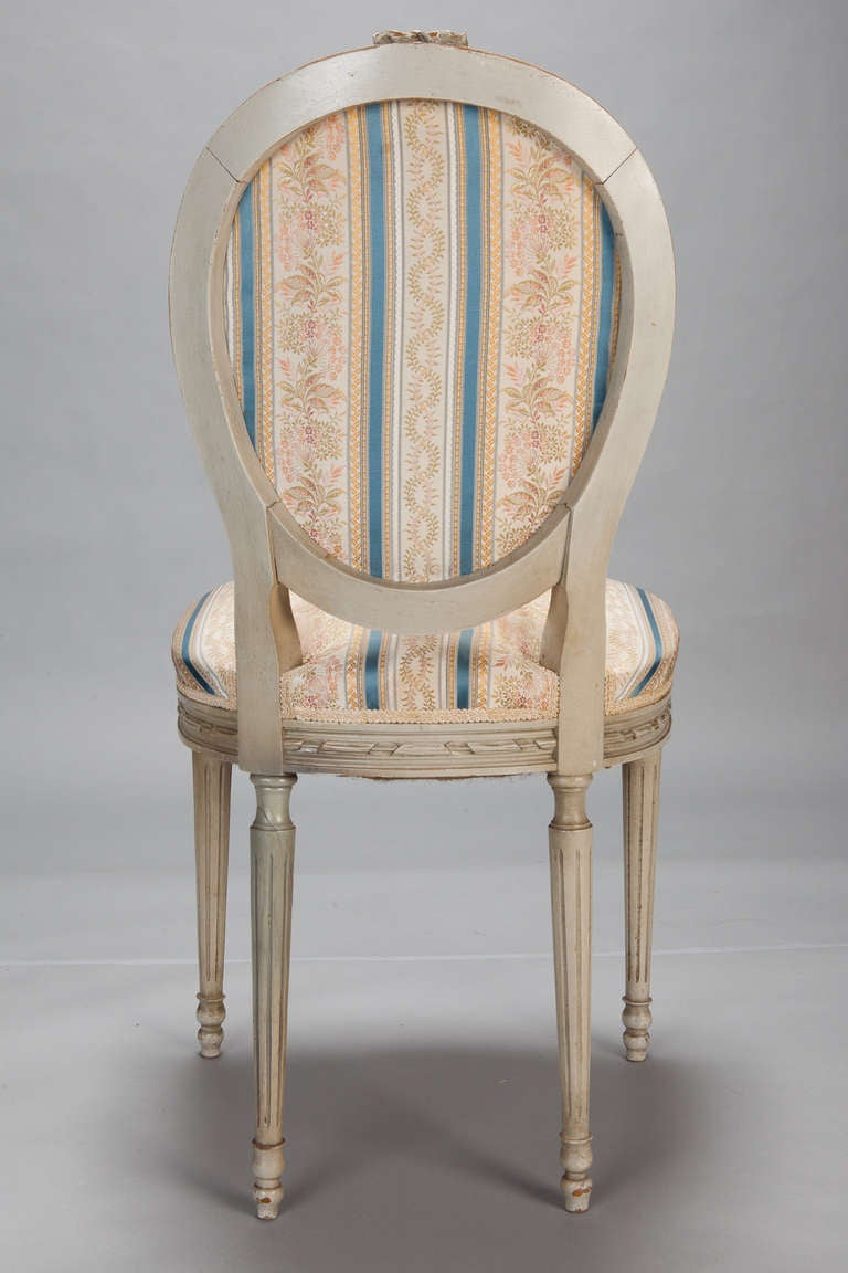 Wood Set of Eight Upholstered French Dining Chairs