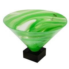 AV Mazzega Green Swirl Murano Glass Bowl Form Vase on Base