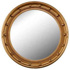 Gilded Round Frame Mirror with Beaded Trim