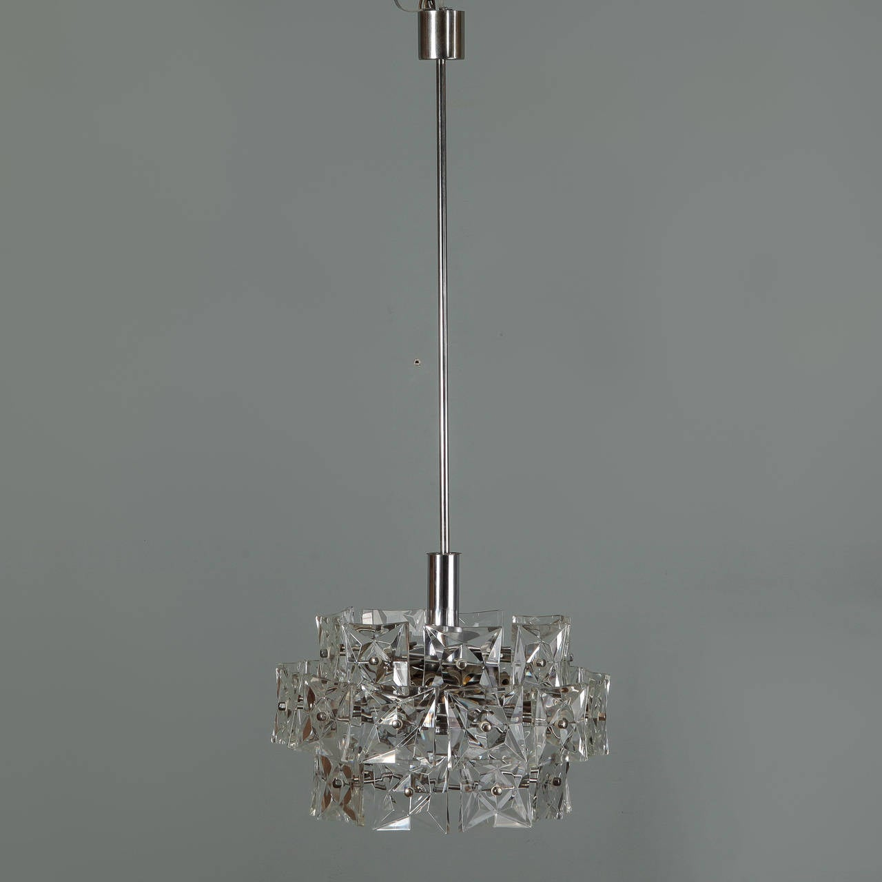 Mid Century Kinkeldey Three Tier Round Hanging Light Fixture For Wiring Electrical Fixtures Crystal Attributed To Silver Tone Ceiling Canopy Internal Structure Supports