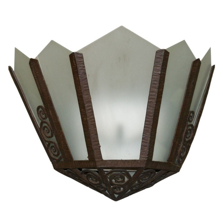 Large Art Deco Wall Sconces : Large Single Art Deco Wall Sconce at 1stdibs