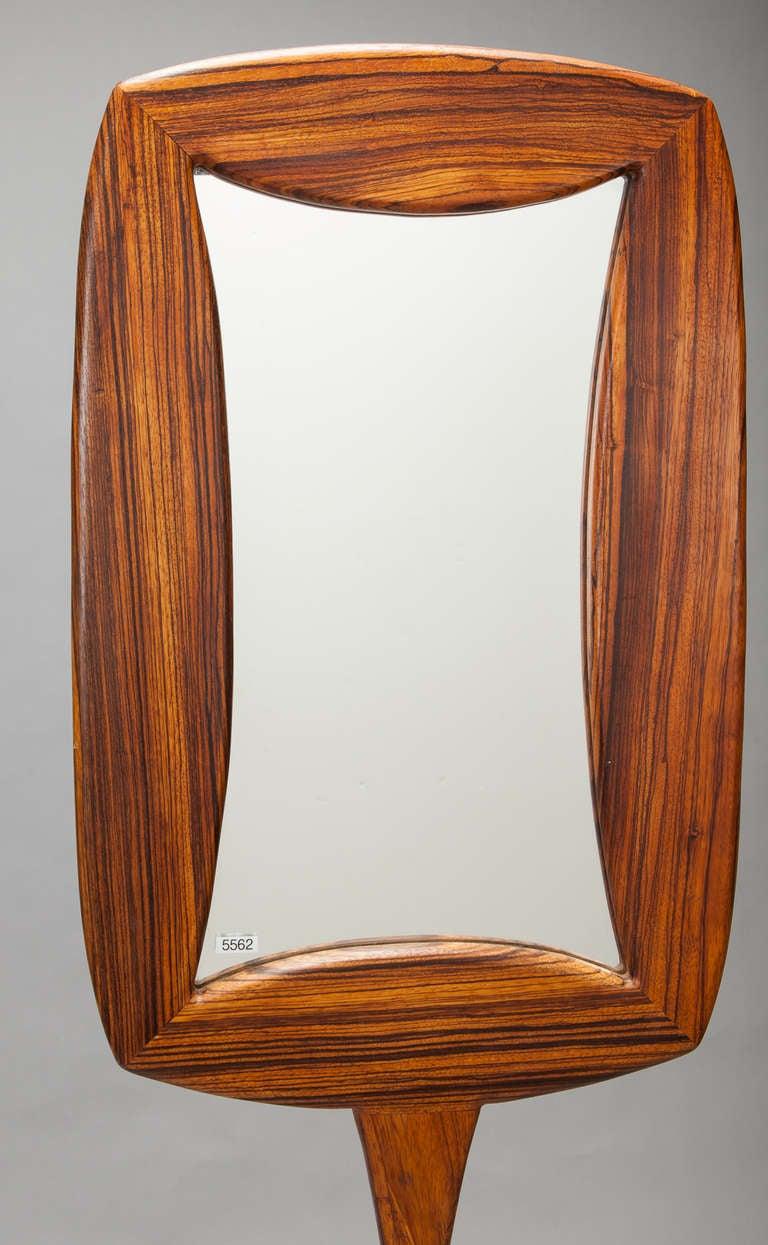 Mid Century Zebra Wood Double Sided Pedestal Base Floor Mirror 3