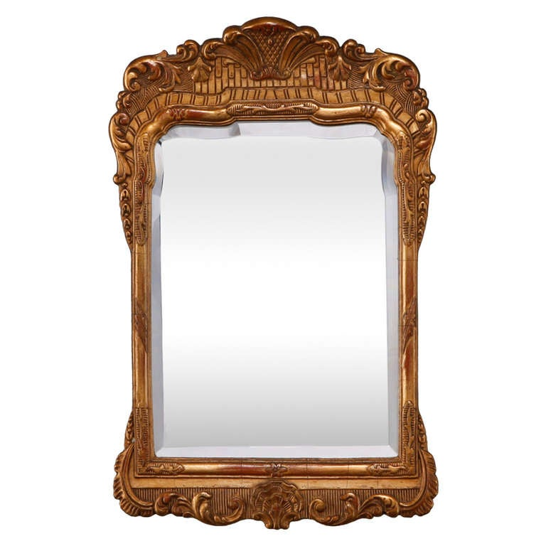 Small dutch gilded and etched framed mirror at 1stdibs for Small wall mirrors