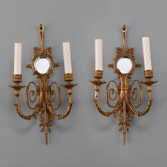 Pair French Two Light Sconces With Round Beveled Mirrors