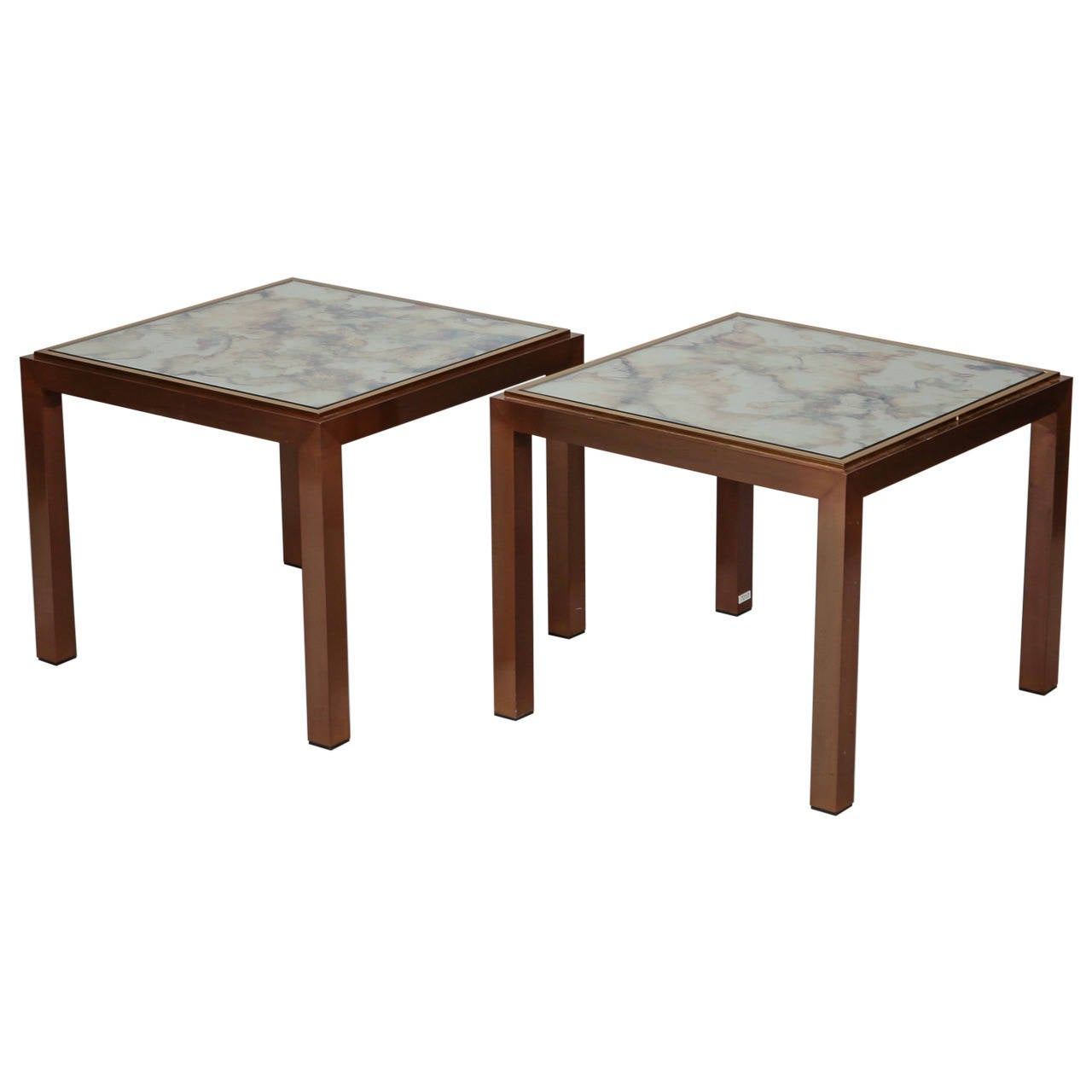 Pair of Square Bronze Metal End Tables with Marbelized Mirror Tops For Sale