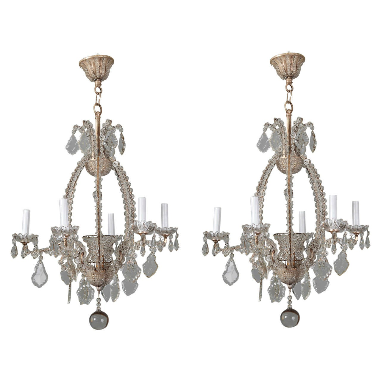 Pair of Italian Chandeliers with Round Beads and Original Beaded Canopies For Sale