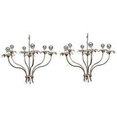 Pair of Mid-Century Nickel Floral Stem Form Chandeliers