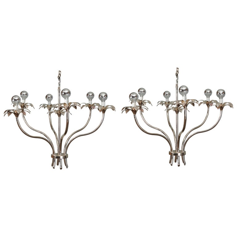 Pair of Mid-Century Nickel Floral Stem Form Chandeliers For Sale