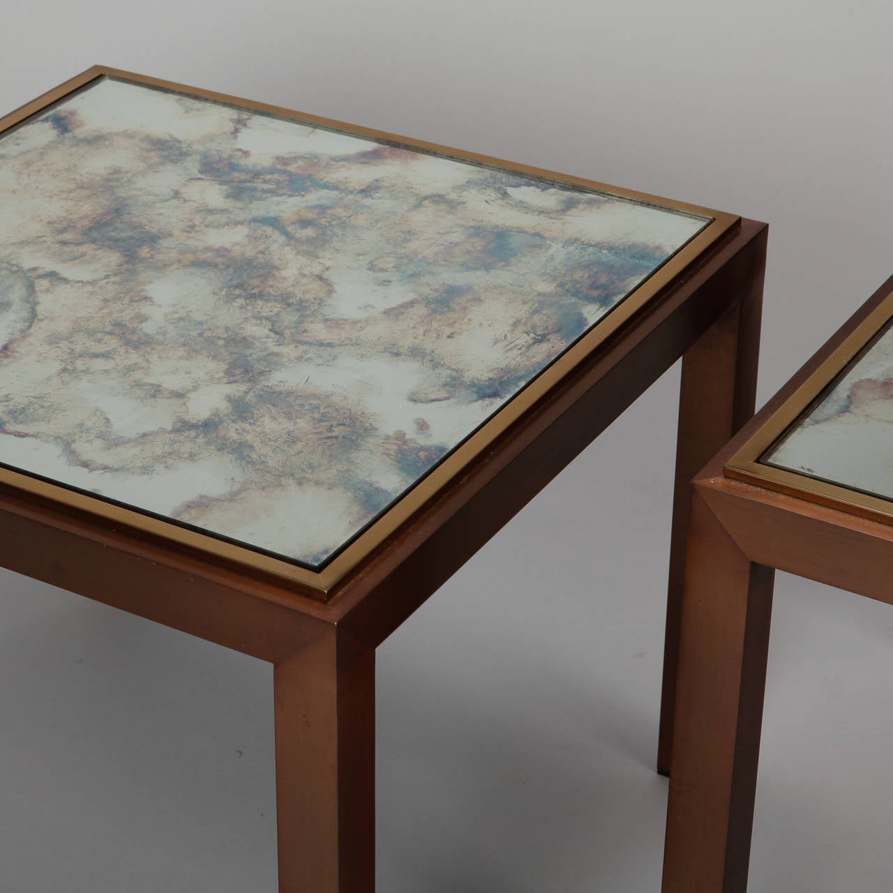 European Pair of Square Bronze Metal End Tables with Marbelized Mirror Tops For Sale