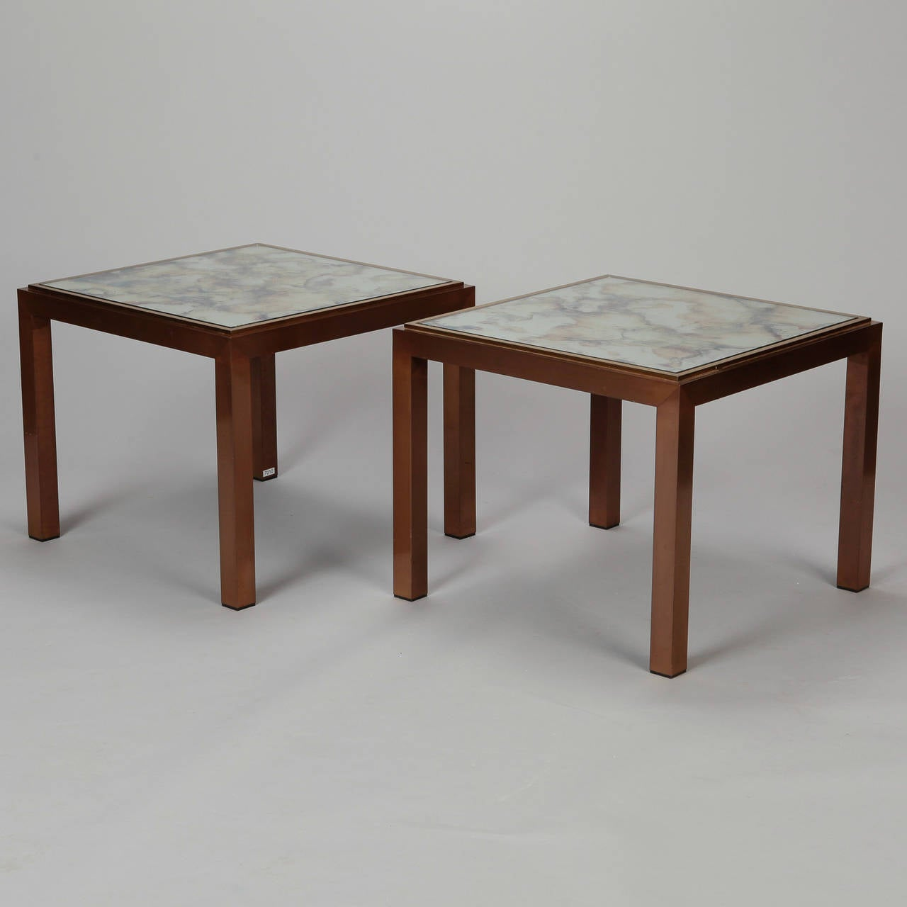 Mid-20th Century Pair of Square Bronze Metal End Tables with Marbelized Mirror Tops For Sale