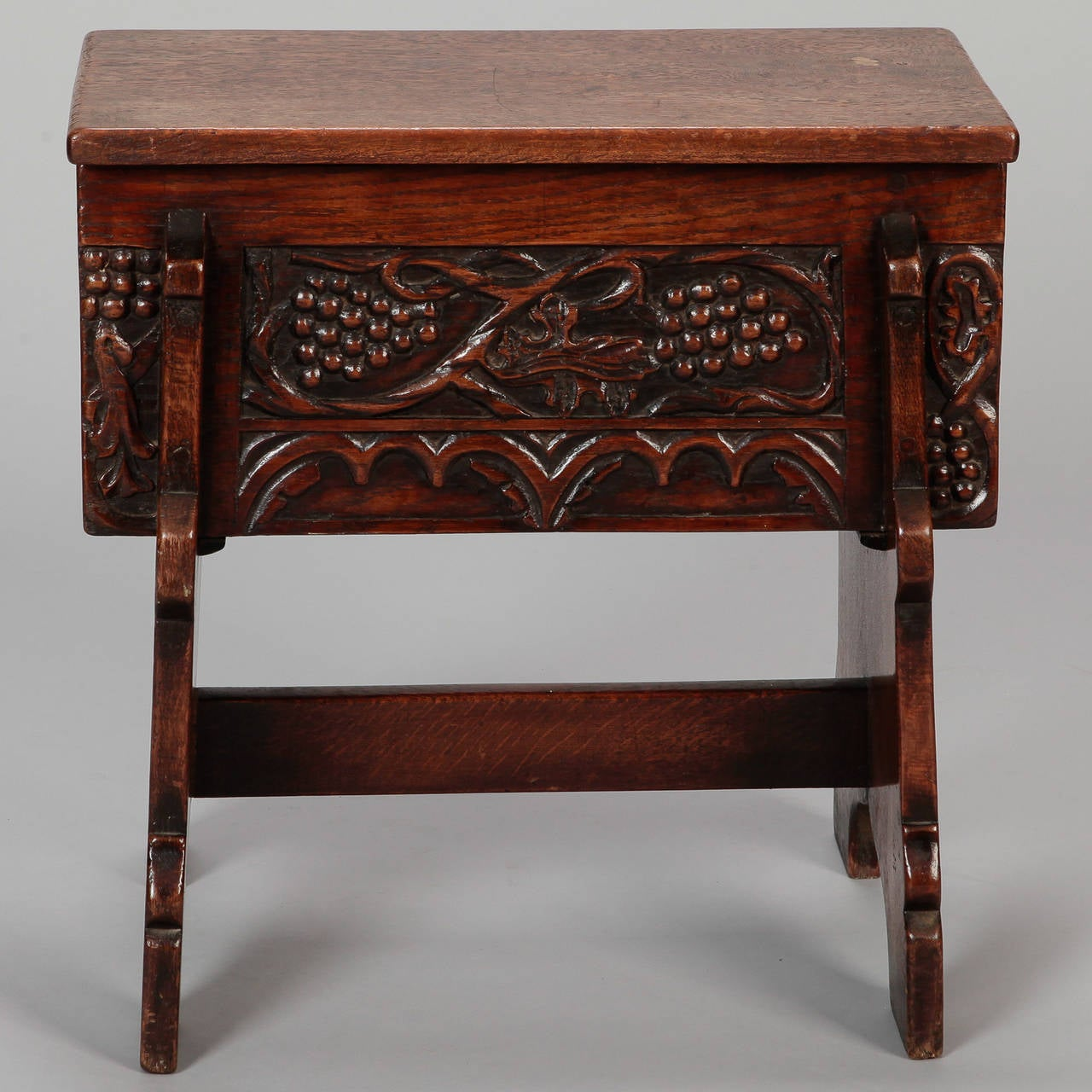 Carved French Oak Stool With Grapes For Sale At 1stdibs
