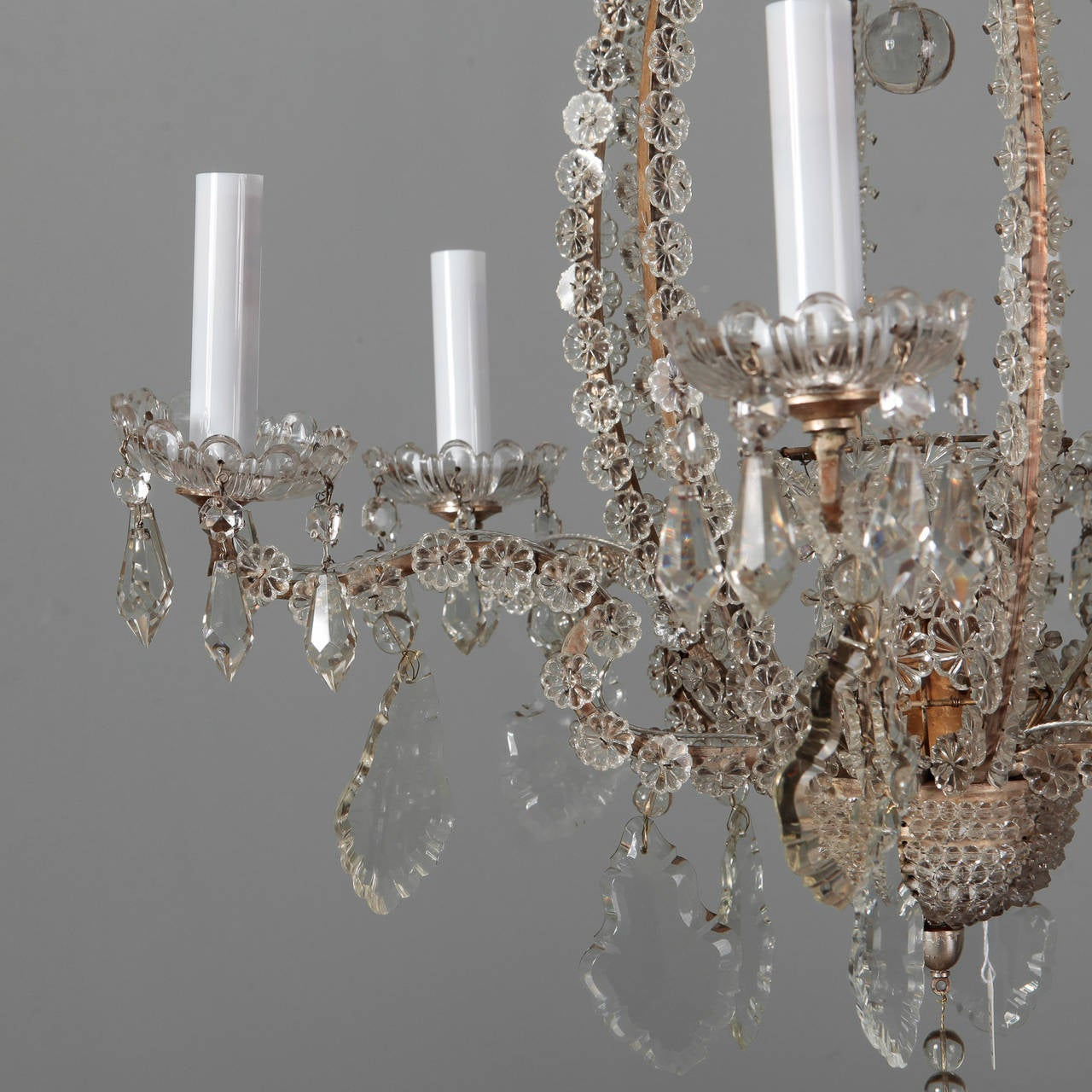 Pair of Italian Chandeliers with Round Beads and Original Beaded Canopies For Sale 2