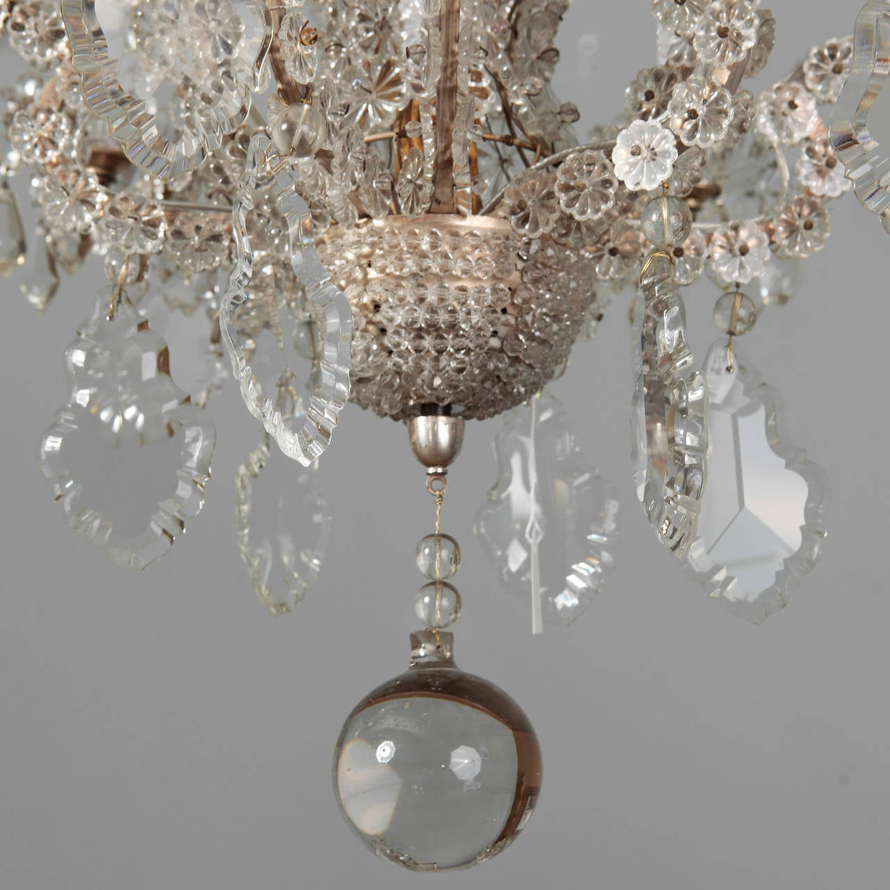 Pair of Italian Chandeliers with Round Beads and Original Beaded Canopies In Excellent Condition For Sale In Troy, MI