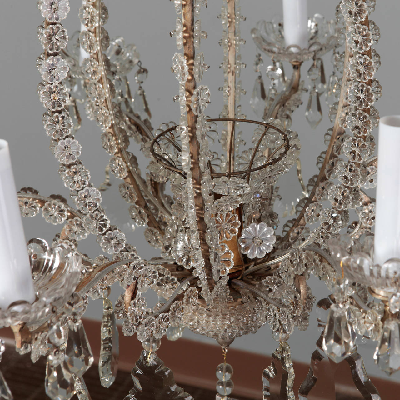 Pair of Italian Chandeliers with Round Beads and Original Beaded Canopies For Sale 3