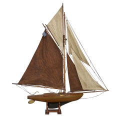 English Pond Boat with Brown & Beige Sails