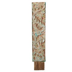 French Carved Plaque with Leaves on Stand