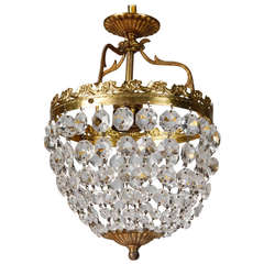 Small Round Fixture with Brass and Crystal Beads