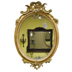 Period Oval Crested Gilt Mirror