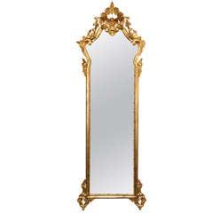 Louis XVI Gilt Tall Narrow Mirror With Crown Top