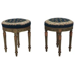 Pair of French Round Stools with Blue Needlework Upholstery