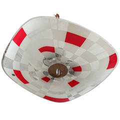Midcentury German Red White Glass Op Art Light Fixture